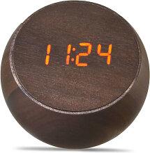Gingko Tumbler Click Clock Wecker - walnut/LED