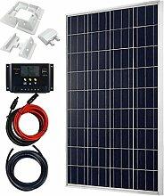 Giosolar 100 Watt Solaranlage Basic-Starter 100W / 12V - Polykristallin Solarpanel - Solar Bausatz mit Modul, Kabeln, und Laderegler-Gartenhaus Neu Solar Garten Set Camping Wohnmobil Inselsystem Solarzelle-Solarse