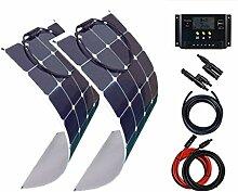 Giosolar 200 Watt (2x100W) Solaranlage Basic-Starter 12V - Flexibel Solarpanel - Solar Bausatz mit Modul, Kabeln, und Laderegler-Gartenhaus Neu Solar Garten Set Camping Wohnmobil Inselsystem Solarzelle-Solarse