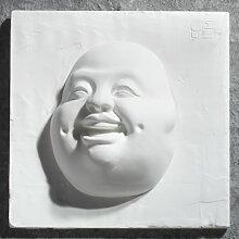 Gipsmanufaktur Bild Buddha Gesicht Lachend 20x20 cm