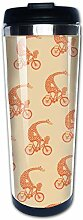 Giraffe auf Fahrrad Kaffeebecher Edelstahl