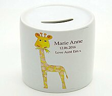 Giraffe Geld, personalisierbar, Spardose, Baby