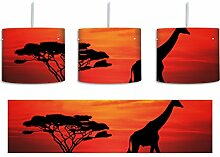 Giraffe im Sonnenuntergang inkl. Lampenfassung