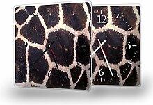 Giraffe - Moderne Wanduhr mit Fotodruck auf Polycarbonat | Fotouhr Bilderuhr Motivuhr Küchenuhr modern hochwertig Quarz | Variante:30 cm x 30 cm mit schwarzen Zeigern