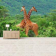 Giraffe Wandbild Safari Tiere Grüne Bäume Foto-Tapete Kinderzimmer Dekor Erhältlich in 8 Größen Klein Digital