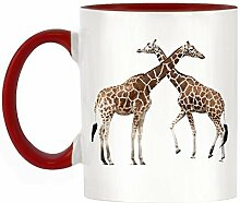 Giraffen Bild Design zweifarbige Becher mit roter Griff & Innen