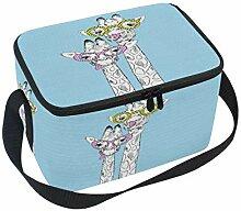 Giraffen Funky Brille Hand Lunchbox-Tasche blau