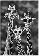 Giraffen Mit Sonnenbrille Lustige Leinwand-Malerei