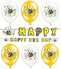 Girlanden Set: 1x Girlande + 6x Latex Helium Luftballons; 7 Teile Ergänzung Kindergeburtstag schwarz gelb bunt Mädchen Maya Dekoration Happy Birthday Bienchen. (6. Girlanden Set)