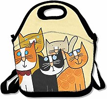 Girls Boys Food Lunch Tote Cartoon Cats Printing