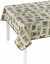 GIRONES Zen Labels Tischdecke, schmutzabweisend, Baumwolle, mehrfarbig, 140x 140cm