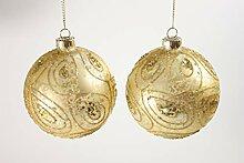 Gisela Graham Glaskugeln Antik Gold mit