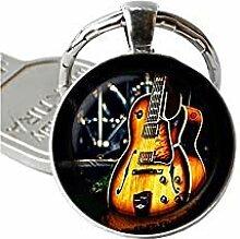 Gitarren-Schlüsselanhänger aus Glas,