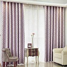 Gitter Schatten Sonnenschutz Vorhang/Einfache moderne Schlafzimmer Wohnzimmer Gardinen-D 200x270cm(79x106inch)