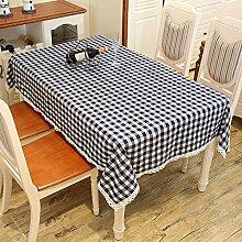 gitter Tischdecke Leinen baumwolle Hotel Couchtisch Esstisch Geschirr Spitze rand Staub Tuch , A , 130*180cm
