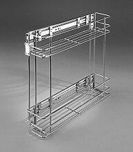 Gitterregal zum Ausziehen für Küche, Speisekammer, Schrank zur Aufbewahrung, Seitenmontage , 2-levels Chrome, side-mounted 150 mm