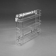 Gitterregal zum Ausziehen für Küche, Speisekammer, Schrank zur Aufbewahrung, Seitenmontage , 3-levels Chrome, side-mounted 150 mm