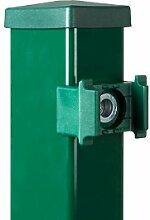 """Gitterzaun + Metallzaun-Vierkant-Eck-Pfosten - 6 x 4 x 170 cm - für 123 cm Stabmattenzaun """"Simpaxx"""" aus feuerverzinkten und grün pulverbeschichteten Stahl"""