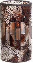 GiveU Mosaikglas flammenlose Kerze Garten 3x6