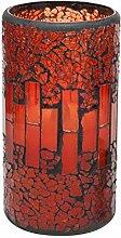 GiveU rot Mosaik Glas flammenlose LED Wachs Kerze