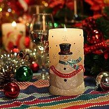GiveU Weihnachtskerze Schneemann 3D flammenlose