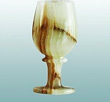 GJ Exclusive - Dekorative Glässer aus Onyx | 4 Größen wählbar | verschiedene Bänderungen | Naturstein Onyx - Marmor Onyxglas Schnapsglas Likörglas Weinglas Sherryglas Schwenker (15,5 x 7,5 cm)