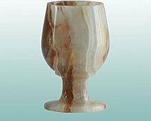 GJ Exclusive - Dekorative Glässer aus Onyx | 4 Größen wählbar | verschiedene Bänderungen | Naturstein Onyx - Marmor Onyxglas Schnapsglas Likörglas Weinglas Sherryglas Schwenker (10 x 6 cm)