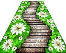 GJIF Flower Design Langer Flur-Läufer-Teppich