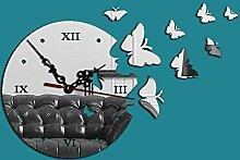 "GK-Acryl Wanduhr stereo Spiegel Wandspiegel 8 elegante Schmetterling"", Silber Spiegel"