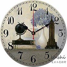 GK-Continental Massivholz im mediterranen Stil erinnert an die Landschaft so alte Uhren Wohnzimmer Wanduhr rund, 16