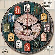 GK-Continental retro idyllische Mode Uhren Wohnzimmer Wanduhr rund um die Uhr Ton der Obst runden, 14 Zoll