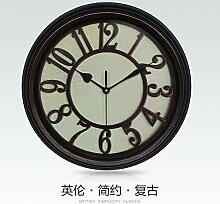 GK-Das Wohnzimmer ist eingerichtet Uhren kreative Mahagoni- und 12,5 Zoll Kreis Zeiger Wanduhr Salon 31,6 cm Durchmesser