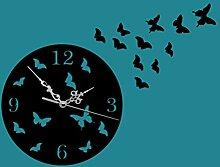 GK-Hängen Uhren minimalistische 11 Schmetterling 3D stereoskopische Spiegel Wohnzimmer diy Acryl Wanduhr Durchmesser 19,5 cm, schwarz
