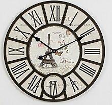 GK-Kreative Wanduhr im amerikanischen Stil Wohnzimmer Wanduhr Holzkiste Verkleidung Uhr kreative Mute 58 cm, c Durchmesser