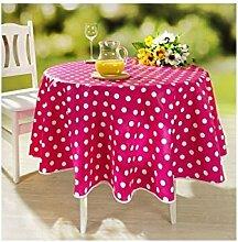 GKA Wachs Tischdeckepink mit weissen Punkten 160cm Durchmesser abwaschbar textile Saumpaspeln Garten Terrasse Küche