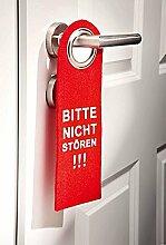 GKA XL Dekoschild Türschild Filz Türhänger rot hellgrau Bitte nicht stören!!! beidseitig bedruckt 27 cm x 10 cm x 3 mm dick (rot)