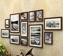 GL&G 12 box Kunst Foto Photo Frame Wand - Creative Living Zimmer Hintergrund Dekoration europäischen Stil Solid Wood Frame Kombination Home Dekoration,D