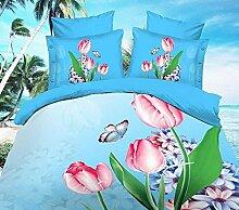 GL&G 3D vier Stücke Sätze dreidimensionale Blumen Schleifen Quilt Bett Lieferungen (Doppel),B7,200X230