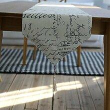 GL&G Amerikanisches Brief drucken Hotelbett Läufer nach Hause Dekoration Restaurant Tischläufer Mehrzweck,30*180cm