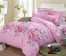 GL&G Baumwoll-Köper-Schleifmittel-Aktivitätsdruck und Färben kühlen bequemen breathable Bett vier Sätze (Steppdecke Cover × 1PC, Bett-Blatt × 1PC, Kissenbezug × 2PCS),b3,1.5m(5ft) bed