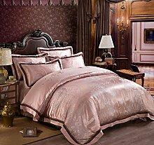 GL&G Baumwoll-Qualität weiche Seide Stickerei Twill Jacquard-Ebene Luxus bequeme Bett vier Sätze von Bettwäsche (Queen, King),N,King