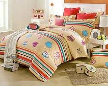 GL&G Baumwoll-Twill-Aktiv-Druck Luxus hochwertigen Heimtextilien Stoff vierteilige Quaste Rand Spitze Mode Bettwäsche (Quilt Cover × 1PC, Bettwäsche × 1PC, Kissenbezug × 2PCS),A9,2 meters bed