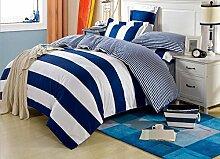 GL&G Baumwolle aktiver Streifen des Hauptgewebegewebes vier Art und Weise einfache Baumwollbettwäsche (Steppdeckeabdeckung × 1PC, Bett-Blatt × 1PC, Kissenbezug × 2PCS),A8,2 meters bed