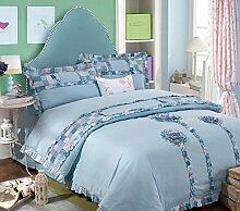 GL&G Baumwolle bestickte Baumwoll-Luxusstickerei bequemes weiches Bett vier Sätze (Steppdecke Cover × 1PC, Bett-Blatt × 1PC, Kissenbezug × 2PCS),B,2M*2.2M(6.7ft-7.2ft)