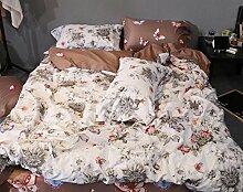 GL&G Baumwolle feines Seidengrind gestepptes Köper niedriges hypoallergenes bequemes breathable kühles Bett vier Sätze (Steppdecke Cover × 1PC, Bett-Blatt × 1PC, Kissenbezug × 2PCS),a5,1.8m(6ft) bed