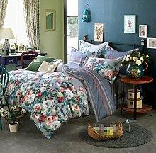 GL&G Baumwolle pastorale Baumwolle Köper Stickerei weichen Seide Bett vier Sätze von Bettwäsche-Sets (Königin, König),H,Queen