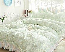 GL&G Baumwollköper-aktives Drucken gestepptes ultra weiches und bequemes breathable Bett vier Sätze (Steppdecke Cover × 1PC, Bett-Blatt × 1PC, Kissenbezug × 2PCS),b1,1.8m(6ft) bed