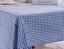 GL&G Blaue Baumwollgitter Tischdecke koreanische Universal Tischdecke Mehrzweck-Deckel Tuch Haus Restaurant Dekoration für jede Gelegenheit,A,60*60CM