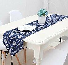 GL&G Chinesische Vintage Stoffe Blau Muster Drucke Baumwolle Mühle Arbeiter Läufer National Wind Home Dekoration Schlafzimmer Bett Tischläufer,28*180cm