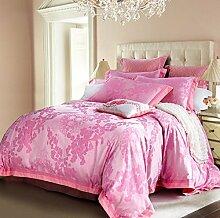 GL&G Cotton Active Färben Jacquard Klapptaschen Hautpflege Komfort Bett Vier Stück Bettwäsche (Königin, König),H,Queen